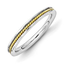Sterling Silver Stackable Expressions Gold-plated Channeled Ring