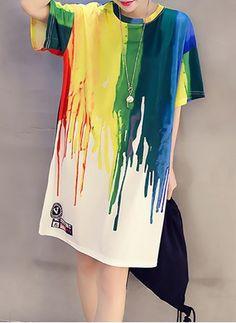 18719bcc99ebf Cotton Color Block Short Sleeve Above Knee Casual Dresses Tunic Dresses