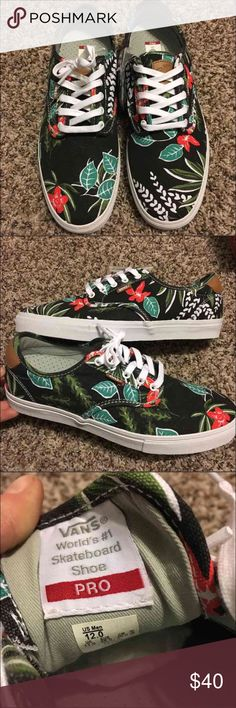 🎈Final Markdown! Vans  Pro low top Aloha Hawaiian Great condition! Never worn! Comes with the original box! UltraCush Insole for better support and comfort. Comes with an extra set of black Laces.  This is a dead stock! No longer in production!   RARE FIND IN UNWORN CONDITION!   Check out the rest of my page for MORE Vans shoe Styles for sale! I love to bundle and save on shipping, comment to find out more! Vans Shoes