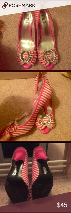 Flirty Barbie like heels Fun stripped heels that can bring life to any outfit. Great for a fun girls night out or theme parties.  Only worn a handful of times. Saw them and instantly fell in love but they haven't gotten much use lately! Tribeca Shoes Heels