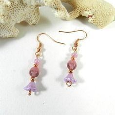 Boucles d'oreilles or rose , boucles d'oreilles bohème chic , bijoux créateur par breloques de sophie