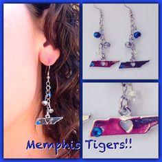 Blue Gem on Memphis Dangle Earrings