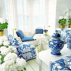 The fabric featured on the chairs in this design is CR Laine's pattern Cachepot Hyacinth.