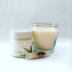 All natural holiday gift set!  Includes 1 13oz candle, 4oz body butter & a Spicy Chai lip balm!  Also available in Pumpkin Spice!  ALONATURALS.COM