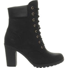 TIMBERLAND Glancy leather ankle boots ($185) ❤ liked on Polyvore featuring shoes, boots, ankle booties, black, black leather bootie, lace up booties, short black boots, leather ankle boots and black high heel booties