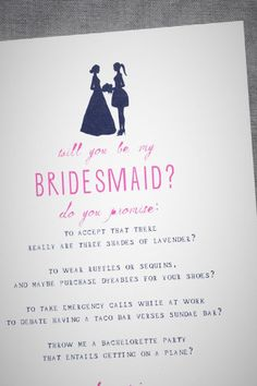 "This card from Mr. Boddington's Studio is one of the best ""Will You Be My Bridesmaid?"" cards out there!"