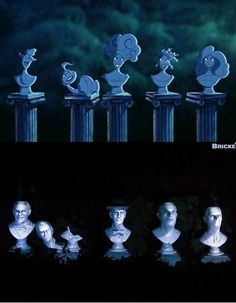 """At one point during Meg's musical scene """"I Won't Say I'm In Love,"""" the Muses sing while appearing as marble busts. The busts are in the same arrangement as the singing busts in the Haunted Mansion ride at Disneyland and the Magic Kingdom at Walt Disney World."""