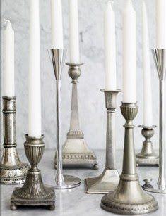 vintage silver candlesticks . . ..