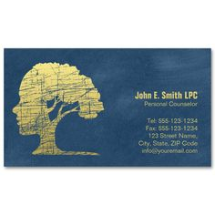 Blue creative psychologist business cards - Great business card templates for psychologists, therapists, counselors, psychiatrists etc.