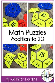 Math Puzzles Addition to 20 These math puzzles are a versatile activity that students can use to consolidate their addition skills. These math puzzles include addition facts to Each puzzle features a focus number the answer to all of the puzzle prob 1st Grade Math, Kindergarten Math, Teaching Math, Grade 1, Guided Maths, Math Addition, Addition Facts, Maths Puzzles, Math Activities