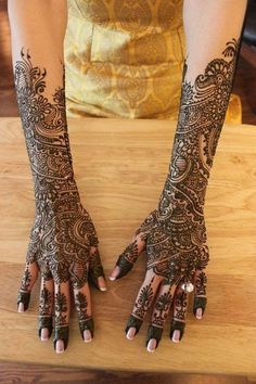 Full Arm Bridal Henna Designs