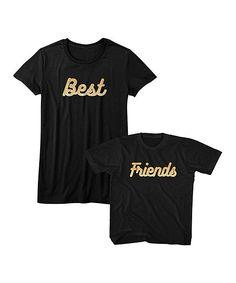 Black Glitter 'Best' & Glitter 'Friends' Crewneck Tee Set - Toddler Kids & Women