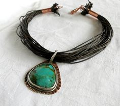 Statement Necklace Twigs Tribal Turquoise by BaysideWireDesigns, $95.00