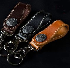 "Hand Made ""TOCHIGI LEATHER"" Original Concho Stitch Key Ring  Made In Japan New  #Quitter"