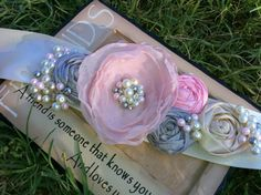 Rosy Bridal Sash in Pinks Grey and Blush by CherryBlosomBoutique