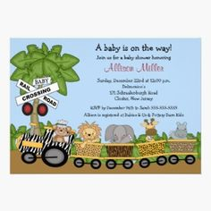 Jungle Safari Train Shower Invitation. A cute card featuring a jungle scene with a palm tree and a jungle animal train with a monkey, lion, elephant, hippo & giraffe. Perfect for either a baby boy shower or baby girl shower invitation card.