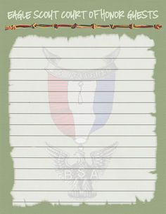 COH Guest Sheets - this is what I forgot at both of our Eagle Ceremonies.