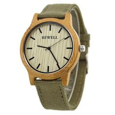 Fashion Japan Movement Bamboo Wooden Wristwatches Simple Dial Canvas Wood Watch With Box Unisex Christmas Gifts 134A
