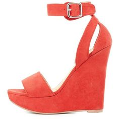 Wild Diva Lounge Two-Piece Wedge Sandals ($25) ❤ liked on Polyvore featuring shoes, sandals, red, wedge sandals, red ankle strap sandals, ankle wrap wedge sandals, wedge shoes and padded sandals