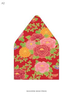 Printable Custom Envelope Liners Red Kimono by seahorsebendpress