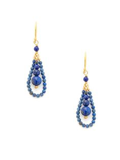 Lapis Bead Linear & Open Teardrop Earrings by Chan Luu on Gilt.com