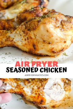 Make an easy Air Fryer Chicken Recipe with these Air Fryer Seasoned Chicken Drum. - Make an easy Air Fryer Chicken Recipe with these Air Fryer Seasoned Chicken Drumsticks. These drums - Air Fryer Recipes Low Carb, Air Fryer Dinner Recipes, Air Fry Recipes, Cooking Recipes, Lunch Recipes, Supper Recipes, Kitchen Recipes, Chicken Drumstick Recipes, Chicken Recipes