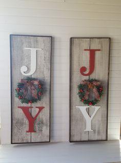 Vertical rustic Joy sign Country Christmas decor Christmas