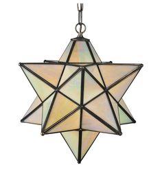 "18""W Moravian Star Beige Iridescent Mission Pendant"