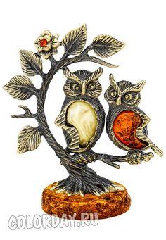 "фигурка ""Совы - Парочка на Дереве"" Baltic Amber, Rooster, Chicken"