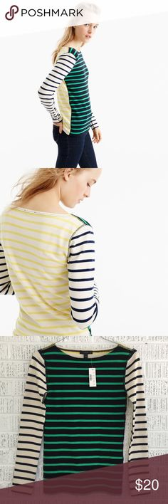 J. Crew Waffle T-Shirt in Stripe Combo Colorful stripes, plus a new waffle knit that won't stretch out with wash and wear. Cotton/spandex. Machine wash. Item F8813. NWT; excellent condition. No trades. Bundle + save! J. Crew Tops Tees - Long Sleeve