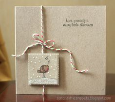 handmade card ... monochromatic look ... inchie focal point with cute stamped bird in the snow ... baker's twin arrange artfully ... like it!