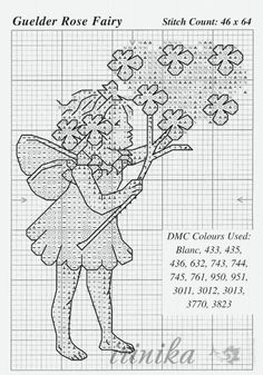 Cross stitch - fairies: Guelder fairy - Cicely Mary Barker - close-up segment (chart)