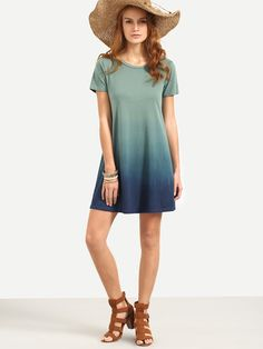 Multicolor Short Sleeve T-shirt Dress