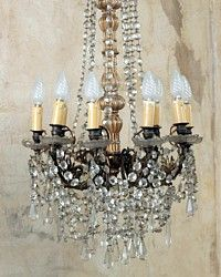 Antique French Crystal Chandelier 9 Arm-chateau, original,1900's, lighting, ceiling,