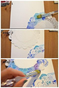 Ideas Diy Para Personalizar Tus Libretas Pintar En Tela - Ideas Diy Para Personalizar Tus Libretas The Elephant Of Surprise Art For Non Artists Easy Doily Watercolor This Would Be Sooo Cute For A Journal Page Or Wrapping Paper And You Could Probably Diy And Crafts, Crafts For Kids, Arts And Crafts, Paper Crafts, Simple Crafts, Diy Paper, Art Diy, Art Techniques, Art Tutorials