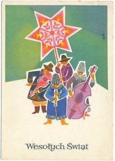 Balicka Wesołych Świąt  Kolędnicy Vintage Christmas Cards, Christmas Greetings, Vintage Cards, Yule Goat, Polish Christmas, Polish Folk Art, Art Costume, Christmas Gnome, Christmas Illustration