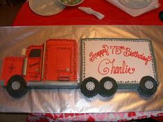 "Truck White carved to be the cab; white ""trailer"" layered and half filling with rasp/other half filled with mousse. Semi Truck Cakes, Semi Trucks, Truck Cupcakes, Cupcake Cakes, Truck Birthday Cakes, 2nd Birthday, Birthday Ideas, Movie Cakes, Retirement Cakes"