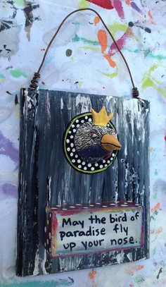 Ceramic Bird Head on Wood Panel by jodieflowers on Etsy,