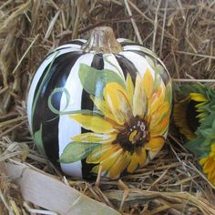 Painted Pumpkin, Fall decor, Fall wedding decor, Country Decor, Fall Front door…
