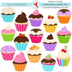 Cupcakes Clipart Set clip art set of by mycutelobsterdesigns