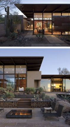 Flato Architects designed the Brown Residence, located in Scottsdale, Arizona. Architecture Résidentielle, Contemporary Architecture, Contemporary Design, Exterior Tradicional, Lake Flato, Desert Homes, Architect Design, Modern House Design, Exterior Design