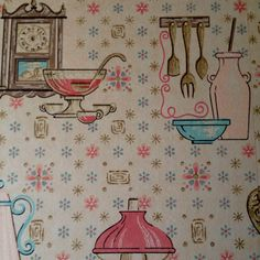 Vintage kitchen wallpaper. Oil lanterns and pink pots and pans