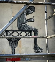 https://flic.kr/p/T1hDdt | Work in progress #jefaerosol #laconditionpublique #streetgenerations #magdadanysz #mural #roubaix #pochoir #stencil #urbanart #rooftop
