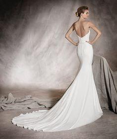 Ankara - Vestido de novia de crepe y tul, escote corazón y encaje