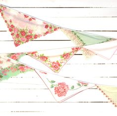 Vintage Hankie Bunting - Wedding Garland - Nursery Banner - Garden Party Decoration - Pink and Green Colors. $50.00, via Etsy.