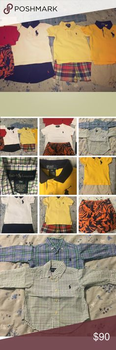 Ralph Lauren Lot Of Infant Items 9 Months This is a lot of 11 Ralph Lauren pieces for 9 month old boy. All items are in excellent condition, stain free & odor free. So stylish and handsome for a little boy!   The lot includes:  • 2 button down shirts with long sleeves size 9 months  • 2 t-shirts (red & white) size 9 months  • 1 pair of swim shorts size 9 months  • 3 Polo Ralph Lauren shirts size 9 months  • 1 pair of plaid shorts size 9 months  • 2 pairs of shorts (khaki & dark blue) size 9…
