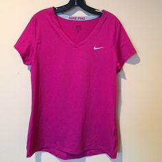Nike pro dri fit shirt Nike pro dri fit shirt.  Pre loved.  Worn once.  No rips, tears or stains.  Polyester/spammed. Nike Tops