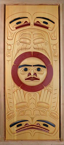 Sun and Four Carpenters Door Panel by Latham Mack, Nuxalk artist Tlingit, Native Art, Pacific Northwest, North West, Constellations, Art Forms, West Coast, Nativity, Native American