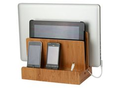 If your guy's electronics are cluttering up the bedroom, this sleek organizer is for you, er, him. His phone, tablet and laptop can all get juice in one neat place. $34.99.