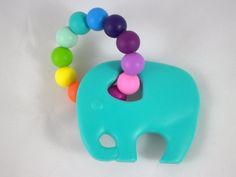 Bijtring / Chewing Toy: Turquoise Elephant (Rainbow)